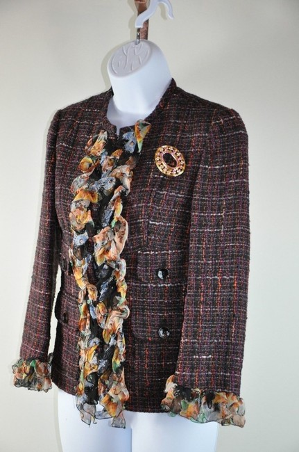 Dolce&Gabbana Dolce & Gabbana Wool Silk Tweed Boucle Classic Floral Blazer Size 38 Multi Brown Jacket