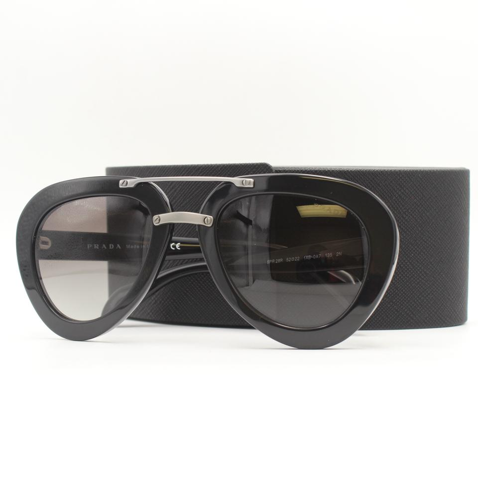 fb6379c90b9 Prada Round Polished Black Aviator Black Double Brow Bar Sunglasses Spr 28R  Image 8. 123456789