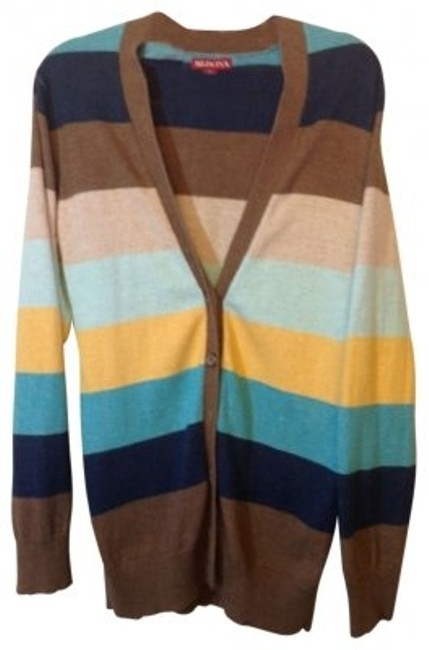 Preload https://item1.tradesy.com/images/merona-brown-tan-blues-yellow-stripes-cardigan-size-4-s-21690-0-0.jpg?width=400&height=650