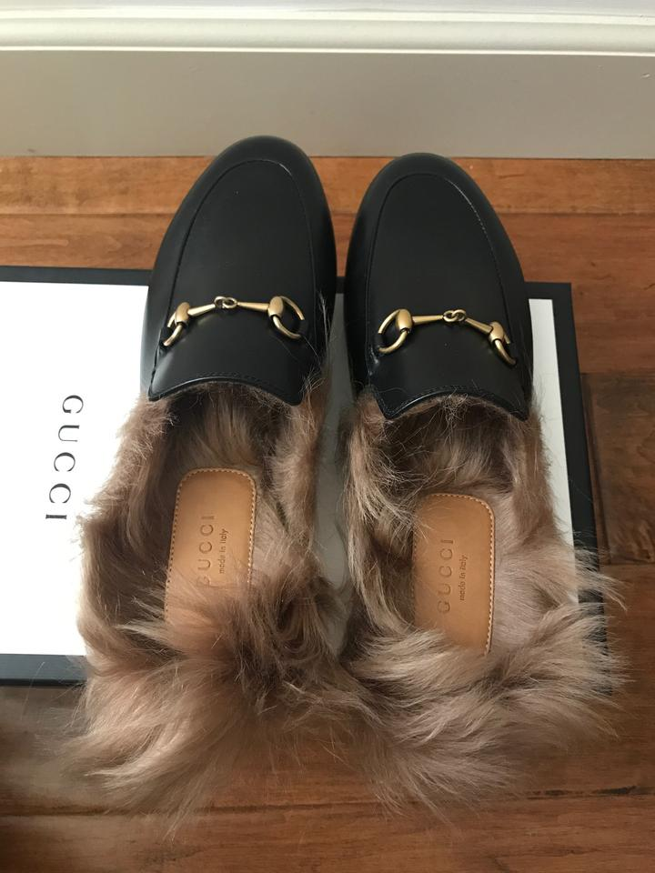 1d965298ae4 Gucci Princetown Fur Slippers Leather Horsebit Detail Black Mules Image 11.  123456789101112