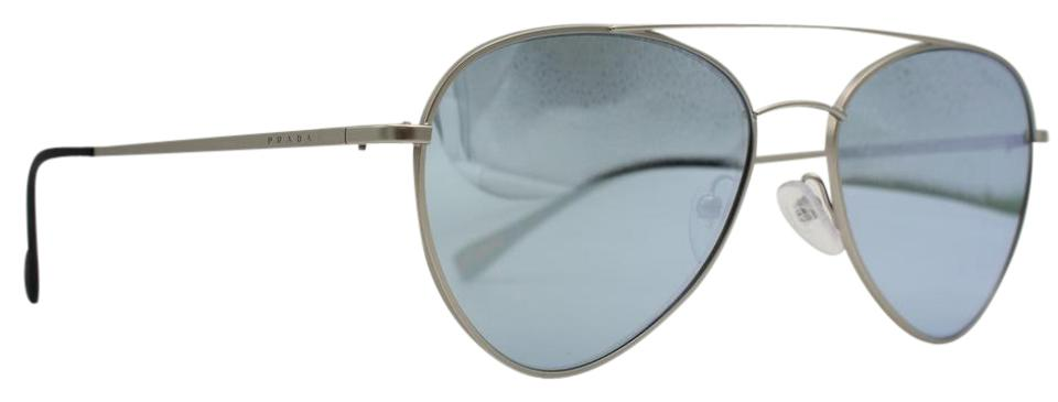 e93aeaf53a9 Prada Silver Steel Mirror Feather Weight Aviator Sps 50s Sunglasses ...