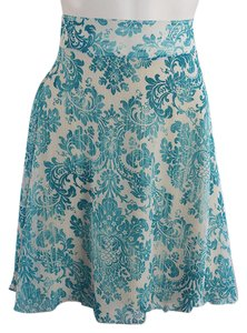 Lisa Nieves Chiffon Casual Short Mini Mini Skirt turquoise / white