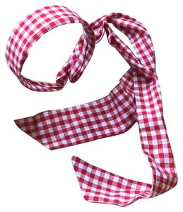 Unknown red and white square pattern long tail headband