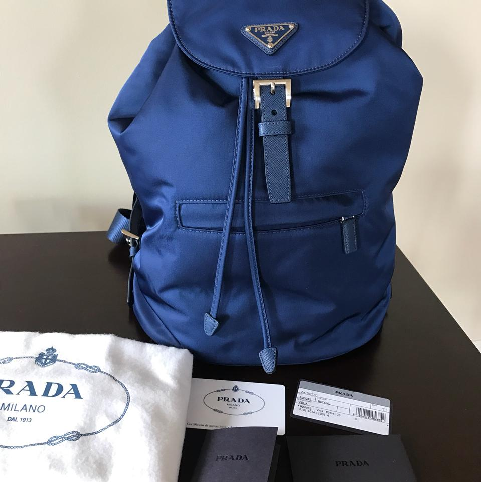 cf244ffea75066 Prada Vela Medium Royal Blue Nylon Backpack - Tradesy