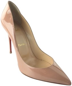 Christian Louboutin Patent Pigalle Patent Leather Nude Pumps