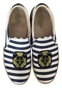 Joshua Sanders White, blue and gold Flats