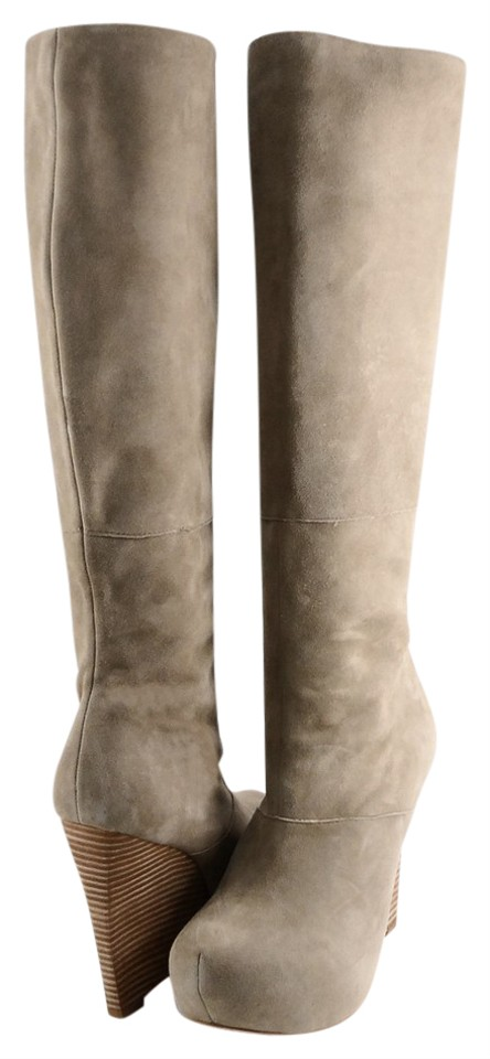 371934e4b31e L.A.M.B. Tan Poppy Suede Knee High Wedge Platform Boots Booties Size ...