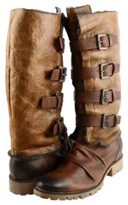 Boutique 9 Designer Comfort Buckled Leather Fur Brown Boots