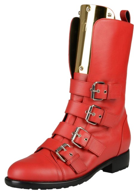 Item - Red Leather Motorcycle Ankle Boots/Booties Size US 6 Regular (M, B)