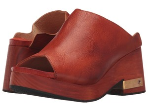 Free People Brass Embellishment Leather Festival Vintage Vibe Red Mules