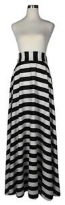 Lisa Nieves Striped Stretchy Casual Prom Maxi Skirt black / white