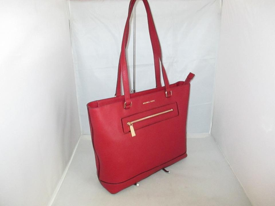 c82227b5fe93 Michael Kors Handbag Frame Out Large North/South Tote Satchel Hobo Cherry  Saffiano Leather Shoulder Bag - Tradesy
