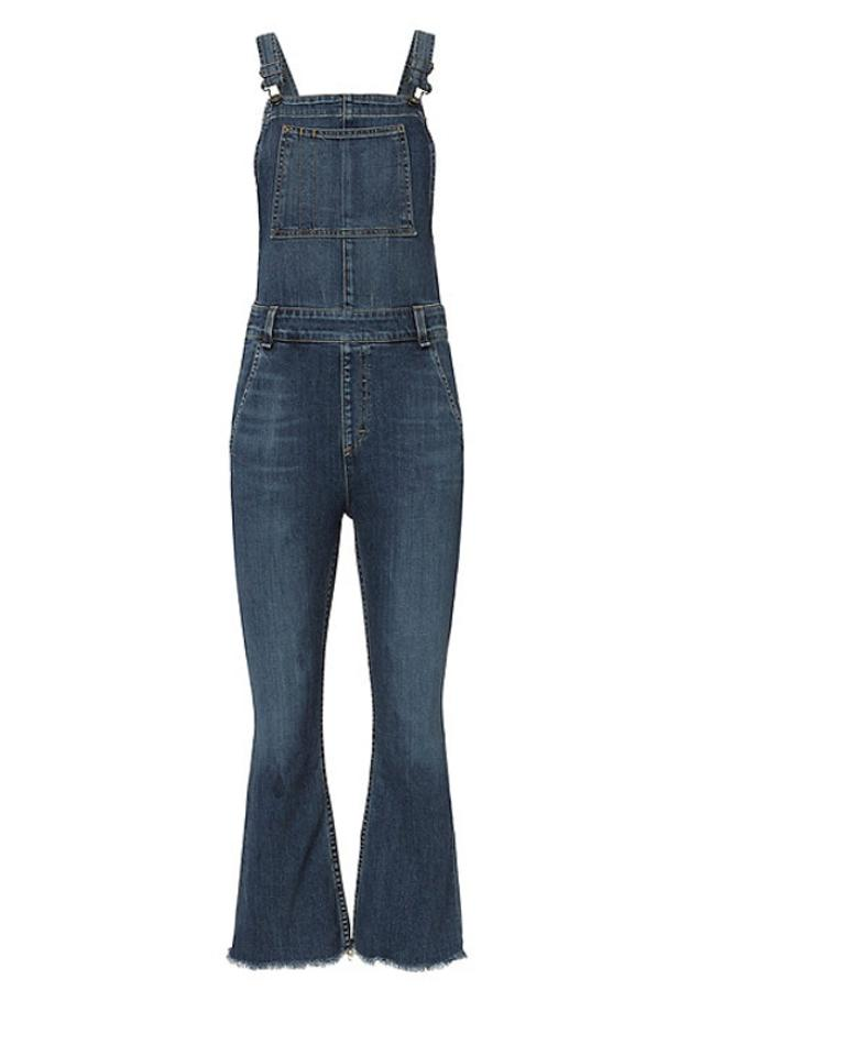 24de096d187 Rag & Bone Dark Denim Wash Paz Crop Flare Overalls Capri/Cropped Jeans