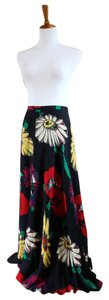 Anne Klein Floral Silk Flowing Full Length Maxi Skirt Navy