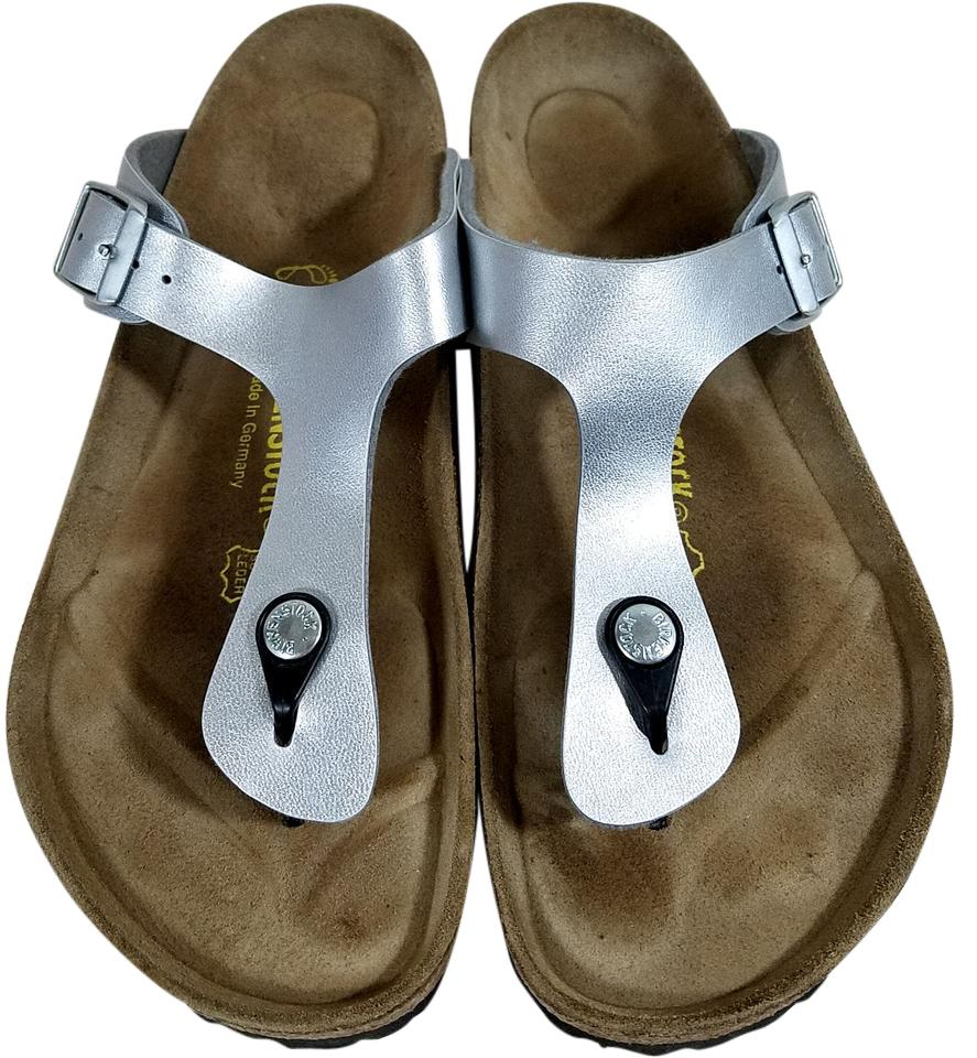 705bdea10b7 Birkenstock Adjustable Straps Cork And Latex Silver Metallic Sandals Image  0 ...