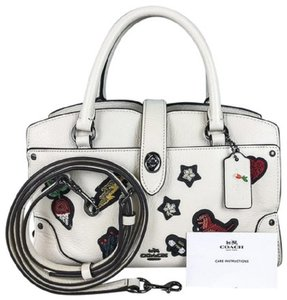 Coach Pebbled Leather Enbroidered Features Satchel in chalk off white