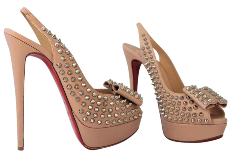 69bbd265f8b Christian Louboutin Beige Silver 40it Clou Noeud Leather Spike Sling  Platform High Heel Red Women Lady Sandals