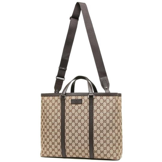 Gucci Unisex With Adjustable Strap Like New Perfect Tote in Tan and brown