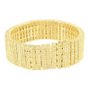 Master Of Bling Canary Lab Diamond Bracelet 14K Gold Finish Mens
