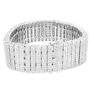 Master Of Bling White Gold Finish Mens 24 MM 2 Row Lab Diamond Bracelet