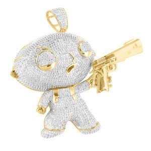 Master Of Bling Baby Cartoon Character Pendant Lab Diamond With Gun In 14K Gold Finish