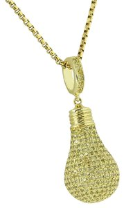 Master Of Bling Light Bulb Pendant Canary Lab Diamonds Stainless Steel Box Necklace