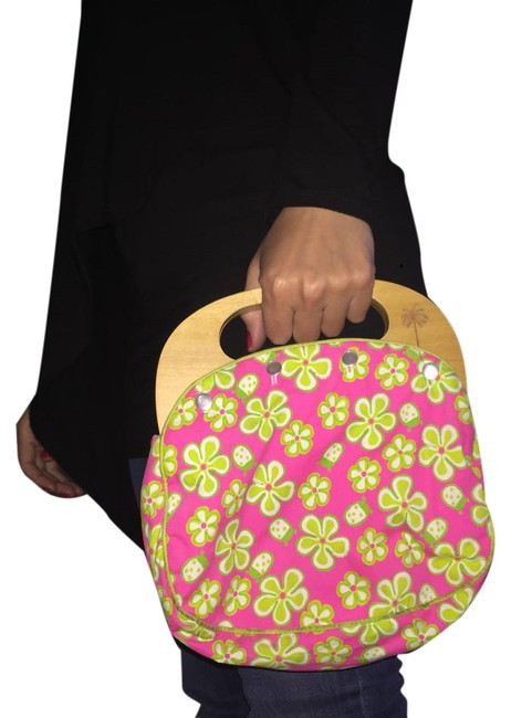 Item - Bermuda Multi-colored. Pink and Green On One Side Blue and Green On The Other. Cotton Hobo Bag