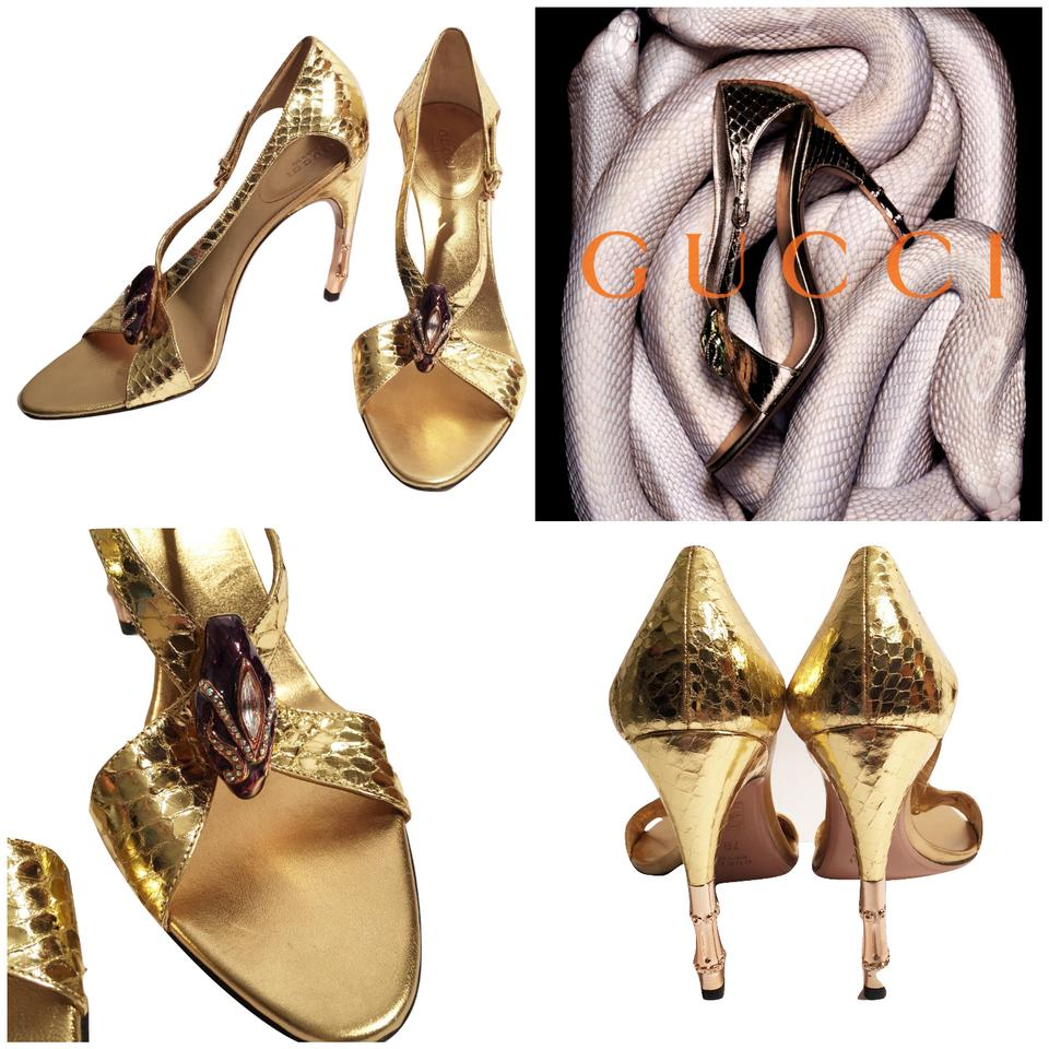 c3704318f8c226 Gucci New Rare Collectors Tom Ford Era Snake Head ~ Python Bamboo Heels  Sandals