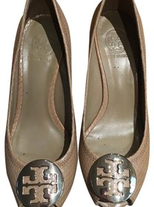 Like New Tory Burch Wedge Peep Toe Pumps That Go With Everything beige/tan Wedges