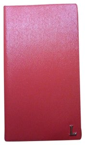 Lancaster Lancaster Red Saffiano Leather Business Card Holder