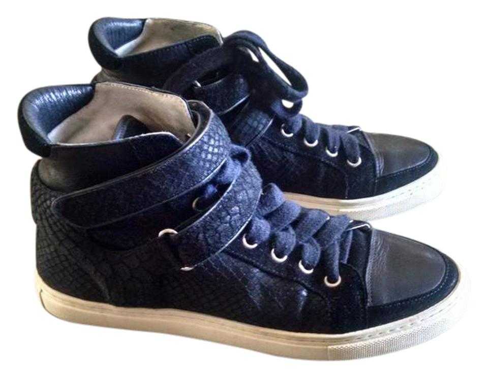 Maje Black Mid High High Mid Top Trainer Leather and Snake Sneakers 4ed7d6