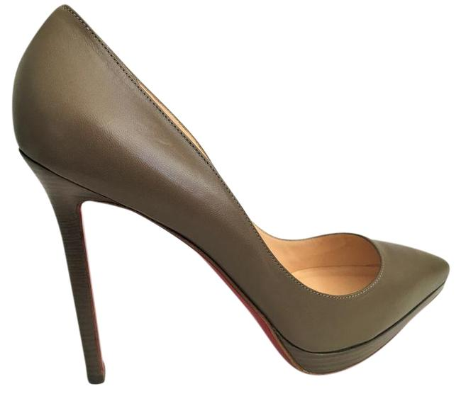 Christian Louboutin Taupe New Pigalle Plato Leather Platform 120 High Heel Red Lady Fashion Pumps Size EU 41 (Approx. US 11) Regular (M, B) Christian Louboutin Taupe New Pigalle Plato Leather Platform 120 High Heel Red Lady Fashion Pumps Size EU 41 (Approx. US 11) Regular (M, B) Image 1