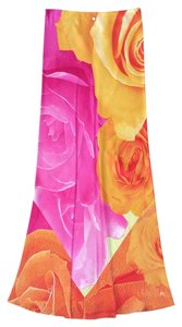 Roberto Cavalli Italian Silk Floral Diamond Maxi Skirt Pink and Orange