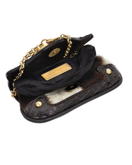Dolce&Gabbana Pony Hair Leather Aligator Pochette Wallet Pouch Wristlet in Multi Brown