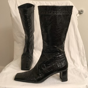 Francesco Sacco Patent Leather Wingtips Knee High Classic Vintage Black Boots