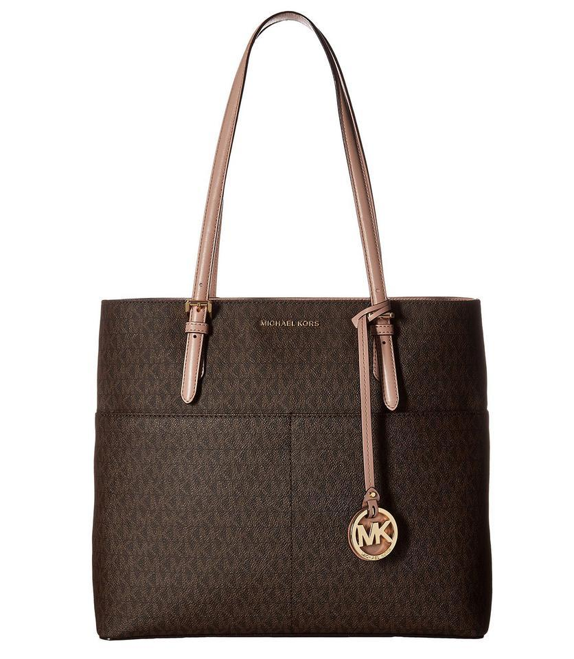 a84ee0b37e9d Michael Kors Bedford Signature Large Pocket Brown/Fawn Faux Leather Tote