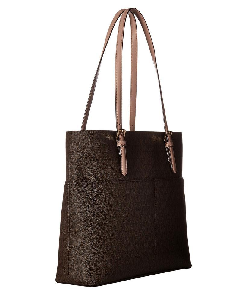 5116ac0bd2ff Michael Kors Bedford Signature Large Pocket Brown/Fawn Faux Leather Tote -  Tradesy