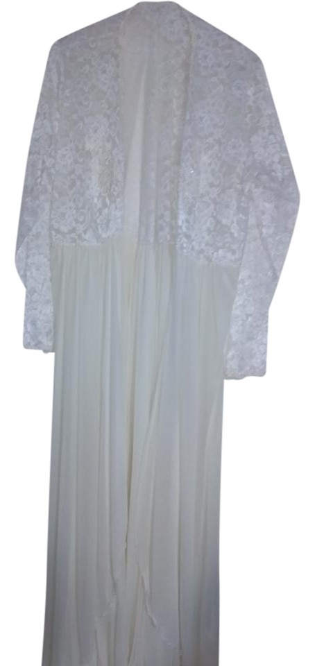 White And Embroidered Lace Open Front Robe Mid-length Night Out ...