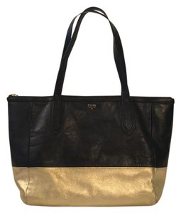 Fossil Tote in Black and metallic gold