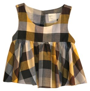 Dear Creatures Tartan Checkered Multi-color Crop Women Clothing Sleeveless Pleated Button-back Ruffle Cotton Made In Usa Taupe Top Black, Yellow Multi Plaid