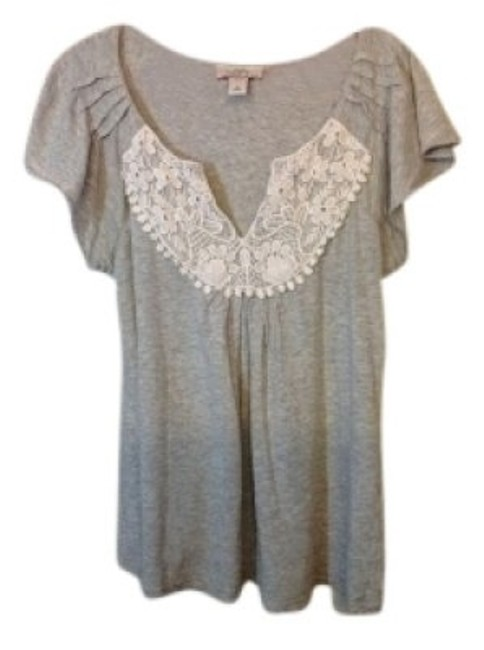 Ann Taylor LOFT T Shirt Grey with white