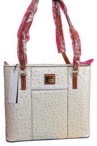 Dooney & Bourke Ostrich Leather Small Lexington Tote in Pearl