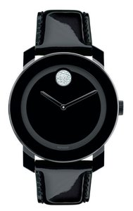 Movado Movado Black Patent Leather Strap Bold 3600353 Crystal Glitz Watch