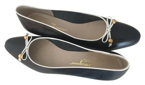 Salvatore Ferragamo Navy leather w/ white leather trim Flats