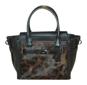 Coach Next Day Shipping Satchel in Black And Animal Print