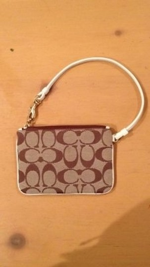 Coach Wristlet in Tan/Brown/White