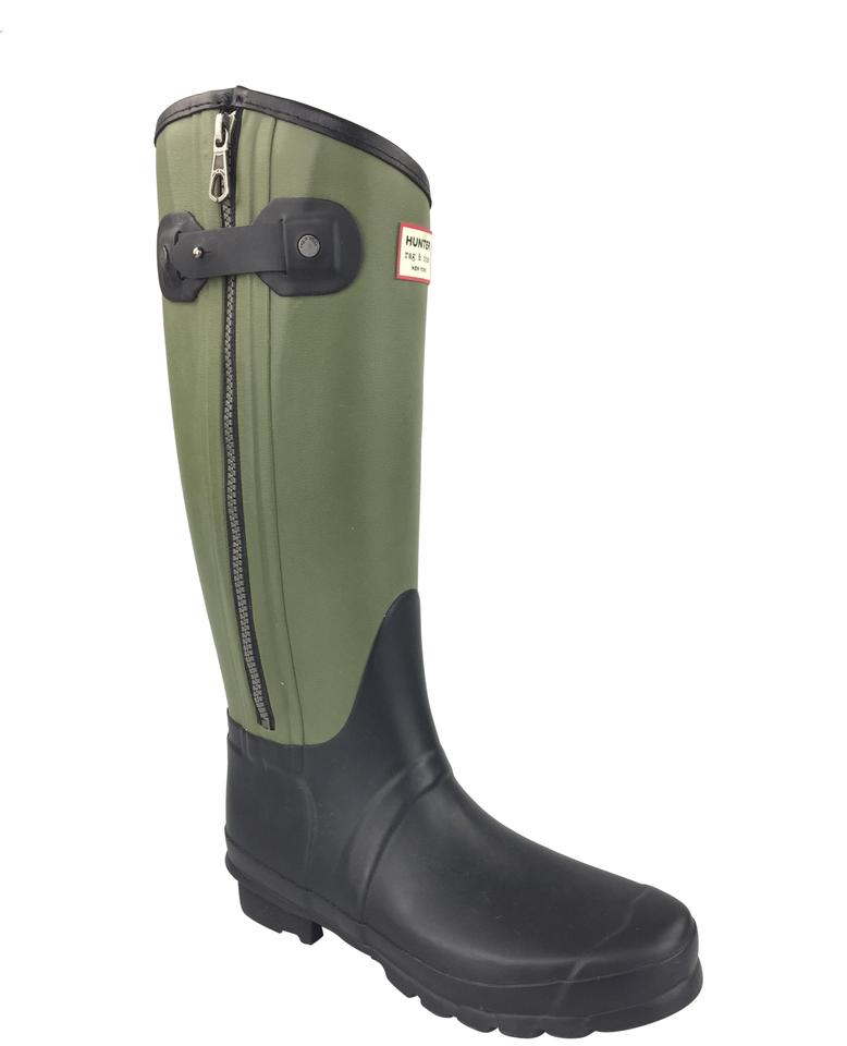 Hunter Black Bone and Green Rag Bone Black Tall Rain Boots/Booties 697959