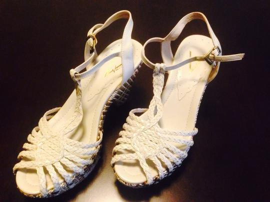 Vince Camuto Beige With Green Accents Wedges Image 1