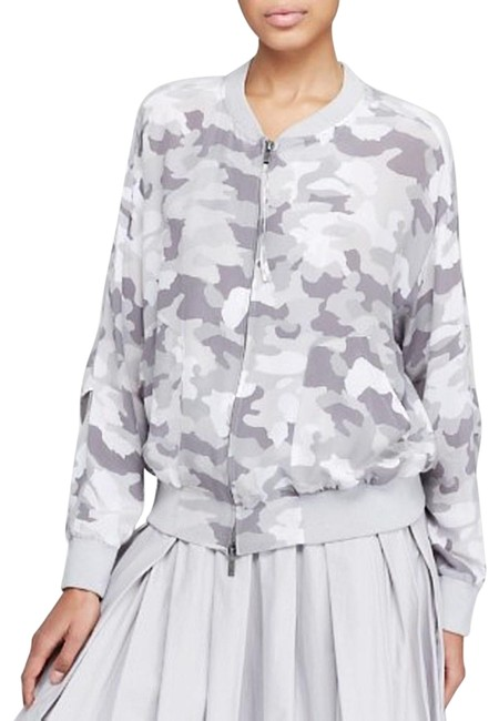 Item - Gray/ Camo Pure Print Silk Bomber Jacket Size 4 (S)