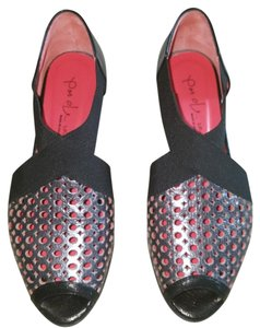 Pas de Rouge Black stretch nylon with pewter leather Sandals